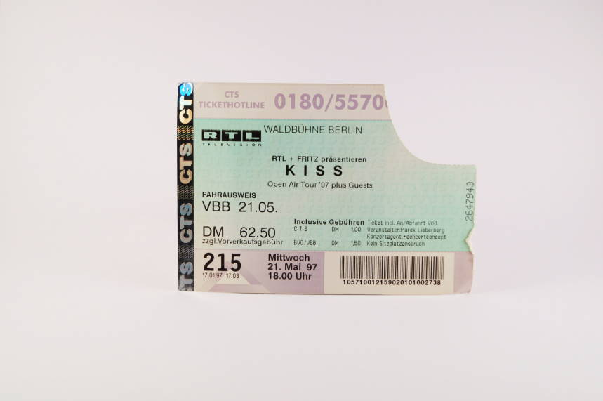 Kiss Concert Ticket 21. Mai 1997 Berlin Waldbühne