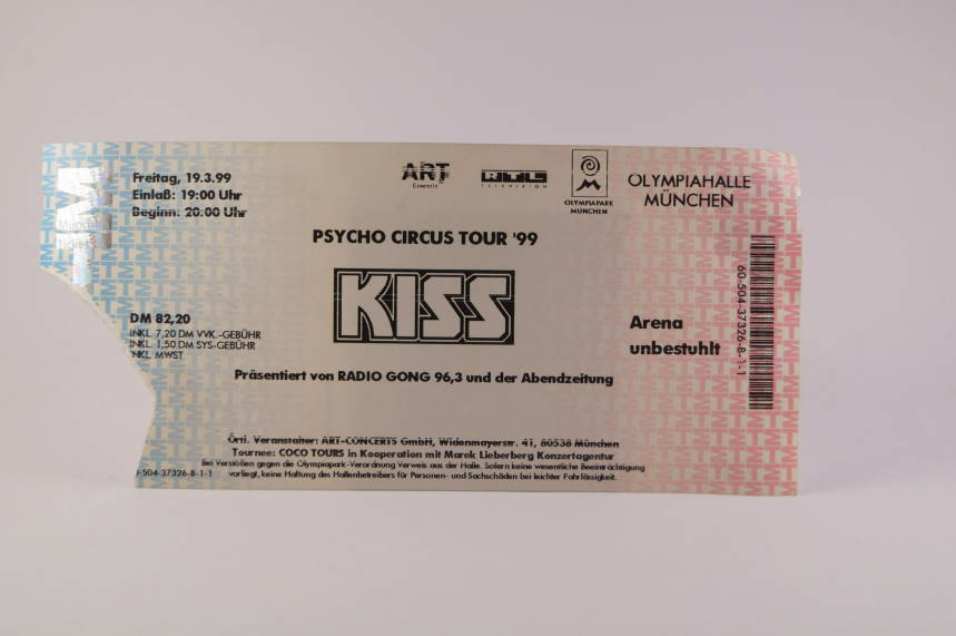 Kiss Concert Ticket 19. März 1999 Munich Olympiahalle