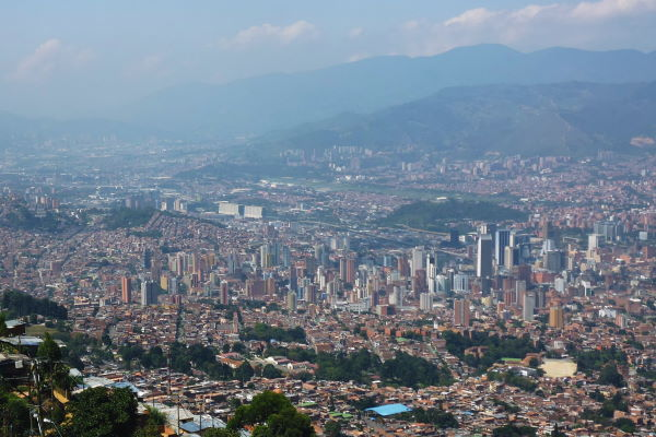 Colombia Medellín View over the city