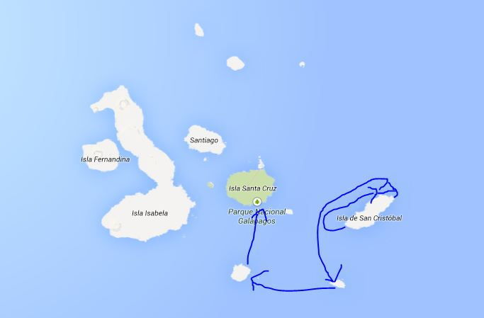 Galápagos Crucero Catamaran Millennium Map Destinations