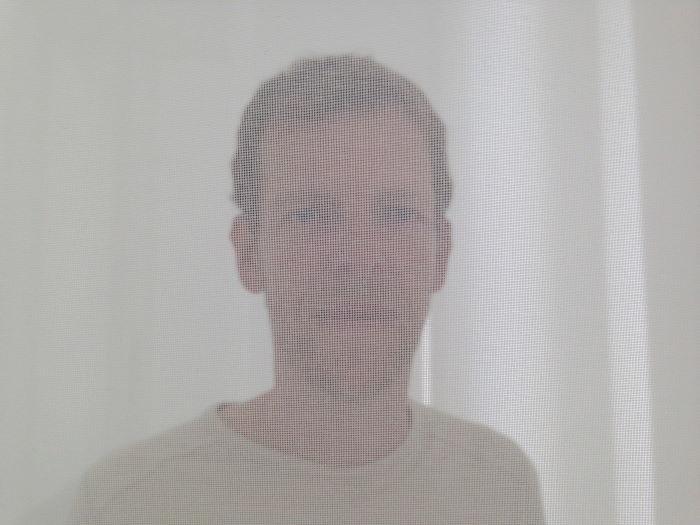 Kristian im Nylon Scrim 2013 von Robert Irwin, Villa Panza, Varese