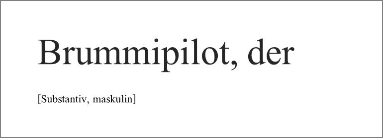 Schöne Wörter mit B - der Brummipilot