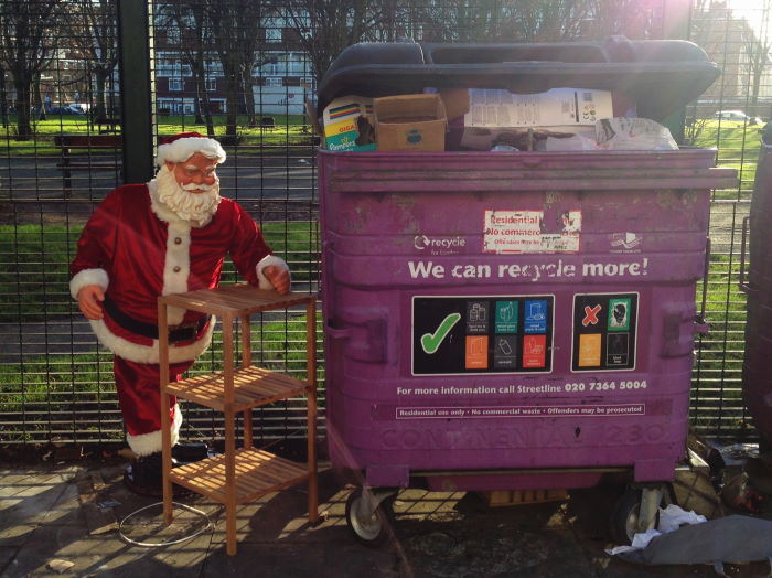 Father Christmas and garbage container Borough of Hackney