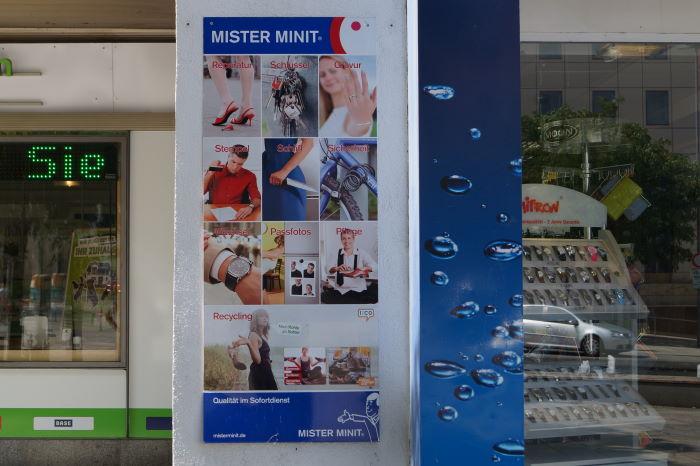 Mister Minit Werbeplakat Dienstleistungen