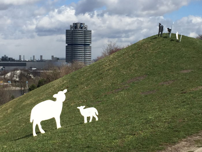 Munich Olympic Park BMW Art project sheeps