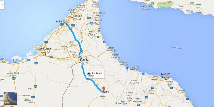 Map Dubai to Ibri, Oman