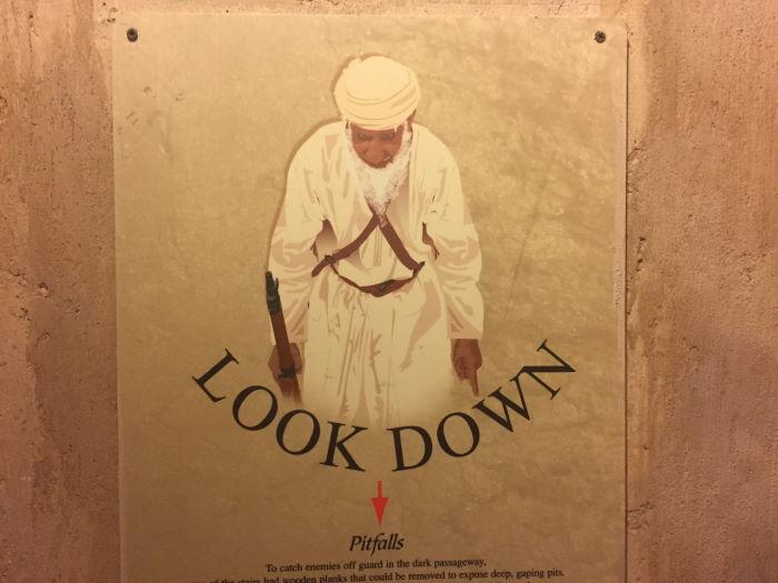 Oman, Nizwa, Pitfalls, Look Down Sign