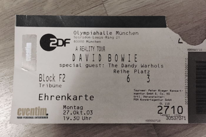 David Bowie, Munich, 2003/10/27, Ticket, Concert