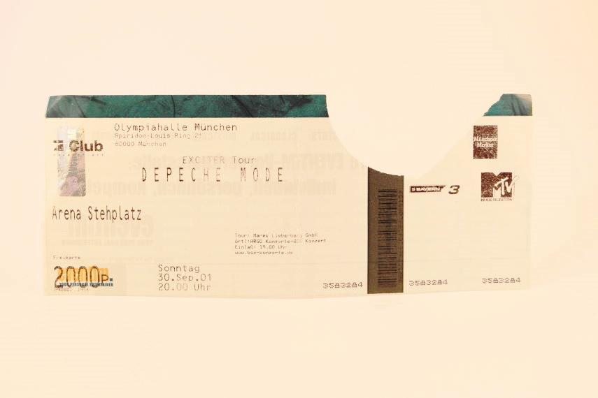 Depeche Mode Concert Ticket 2001 München