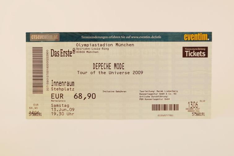 Depeche Mode Concert Ticket 2009 München