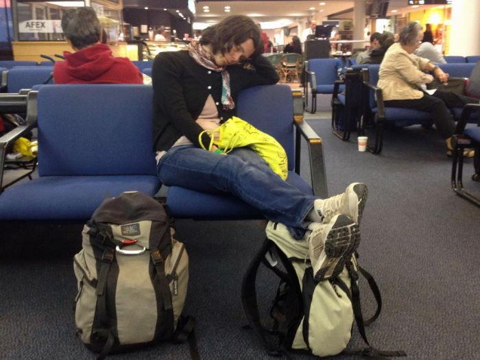 Airport Santiago Chile Sleeping Woman