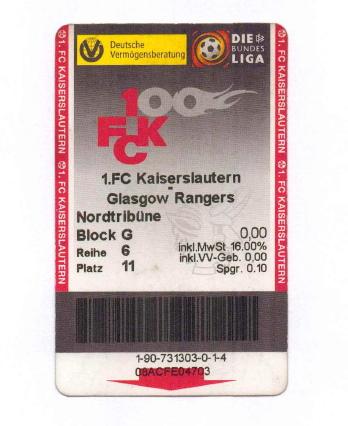 Ticket Kaiserslautern Glasgow Rangers 2000