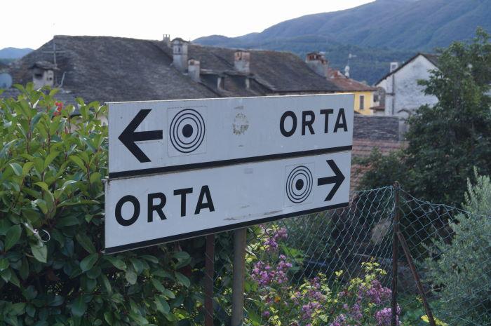Funny signpost Lago d'Orta Piemonte, Italy