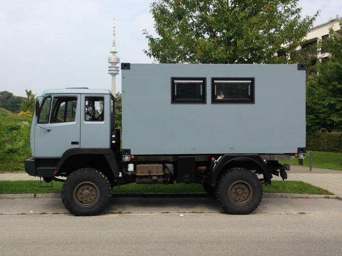 Unimog Expeditionsfahrzeug München Ackermannbogen