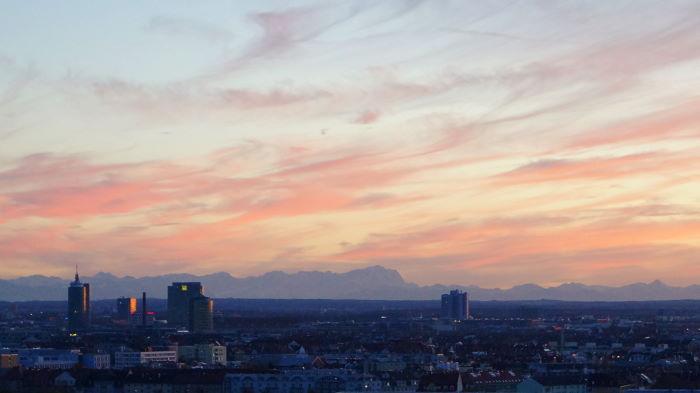 Munich Sunset Olympiaberg Mountains Zugspitze