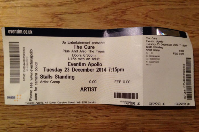 The Cure Concert London Eventim Apollo 2014-12-23 Ticket