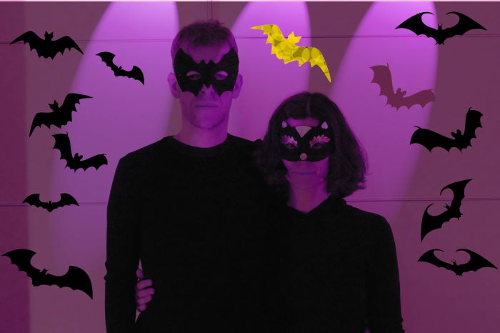 Halloween couple with bats