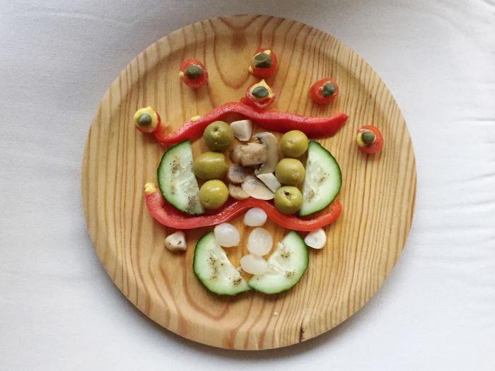 Vegetarischer Vorspeisenteller als Kunstwerk