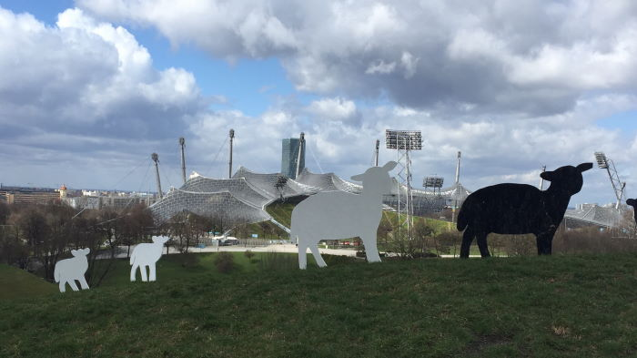 Munich Olympic Stadium art project sheeps