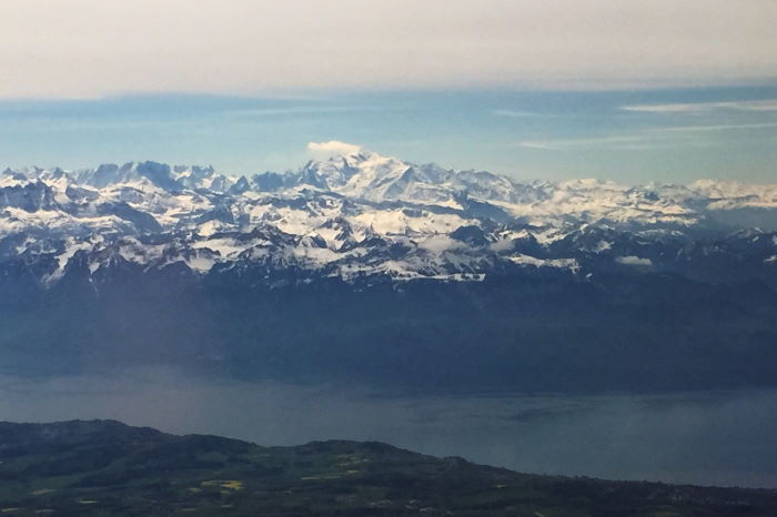 Flight over Lake Geneva with view on Mont Blanc