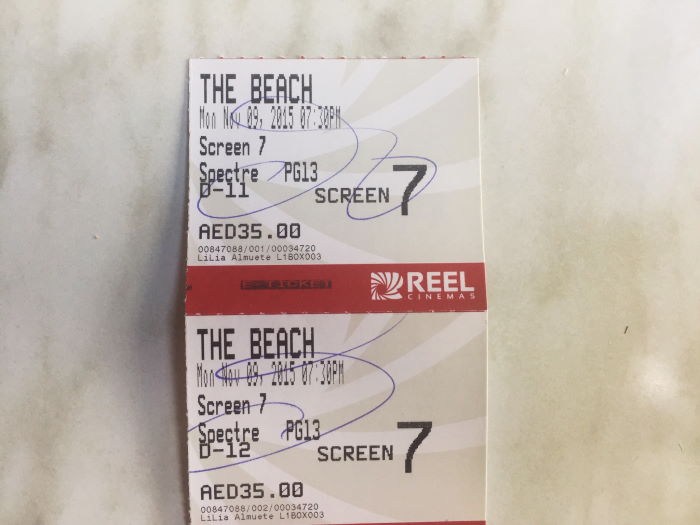 Dubai Marina, Cinema The Beach, James Bond Spectre