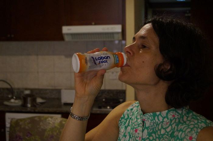 Drinking Laban Cool Yoghurt