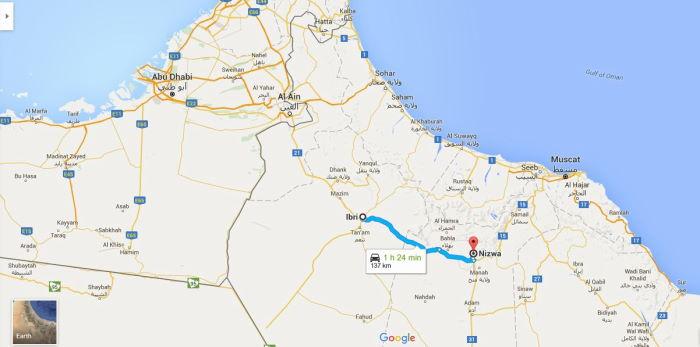 Oman, Ibri to Nizwa Map