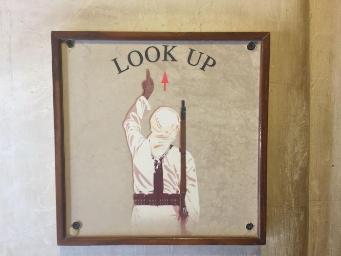 Oman, Nizwa, Look Up Sign
