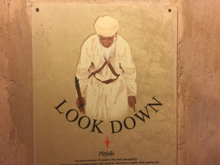 Oman, Nizwa, Pitfalls, Look Down Sign
