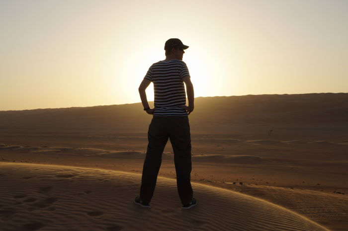 Oman, Nomadic Desert Camp Sunset Man