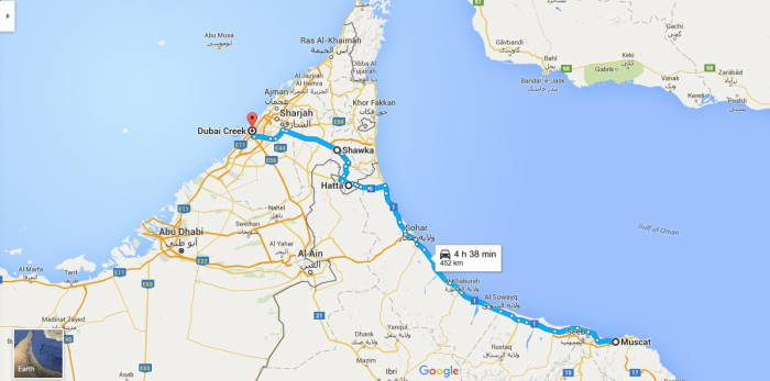 Muscat to Dubai by car Map